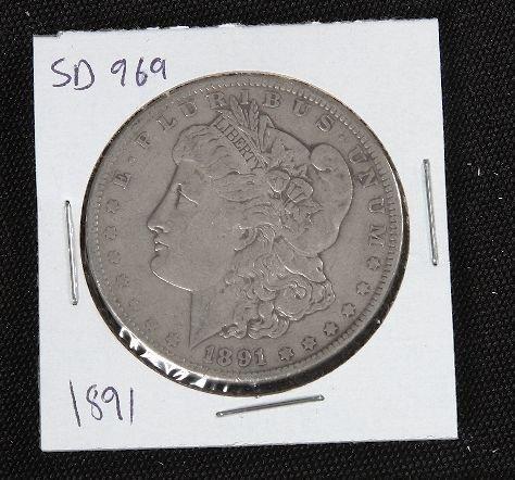 9: 1891 Morgan Silver Dollar VG+ SD969