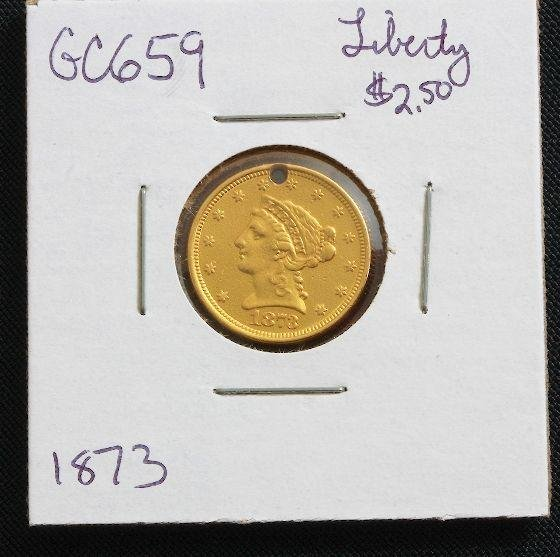10A: 1873 Liberty Head $2.50 Gold Coin GC659
