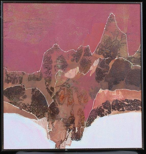 """20A: Framed Maxine Masterfield - """"Mountain Ranges"""" Wate"""