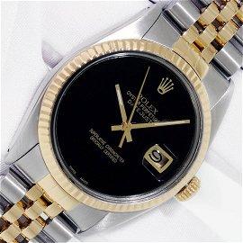 Rolex Datejust Mens 36 Black Onyx 18K/SS Oyster