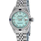 Rolex Ladies Stainless Steel Ice Blue Diamond &