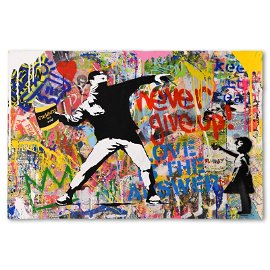 """Mr. Brainwash, """"Banksy Thrower"""" One-of-a-Kind Mixed"""