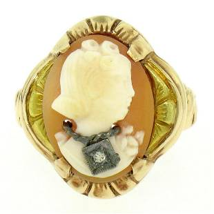 Antique 10kt Rose and Green Gold Carved Cameo and