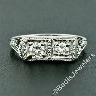 Vintage Platinum 0.52 ctw Dual Transitional Cut Diamond