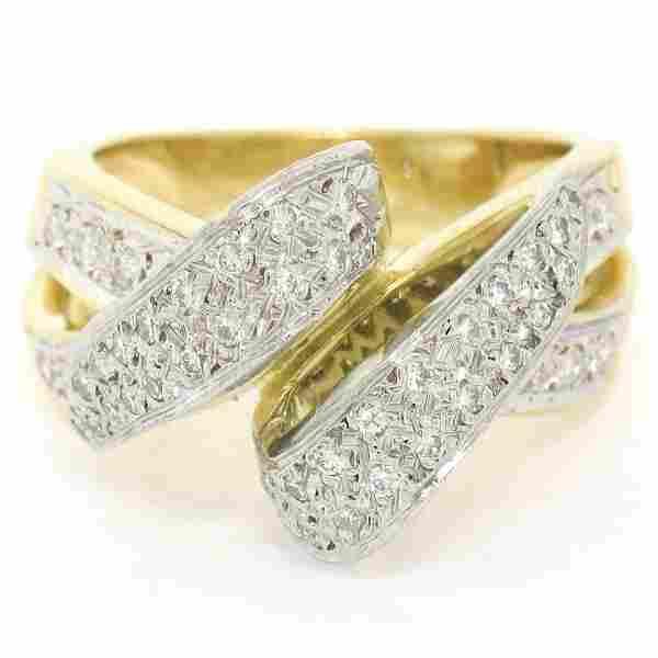 18K Yellow Gold & Platinum .46 ctw Pave Set Diamond