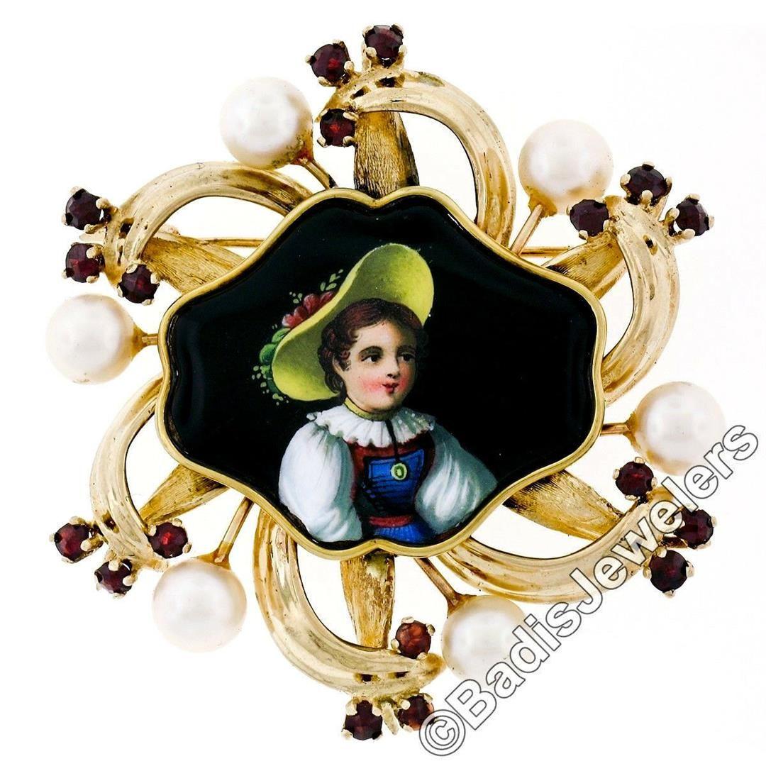 Vintage 14kt Gold Hand Painted Portrait, Garnet, &