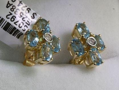 4: 14KT White Gold .04 Diamond & Blue Topaz Earrings FJ