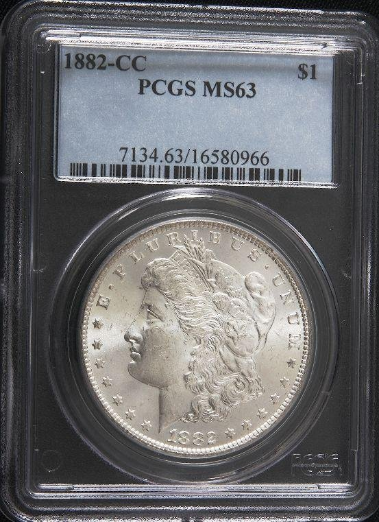 8: 1882-CC Morgan Silver Carson City Dollar MS63 SCE229