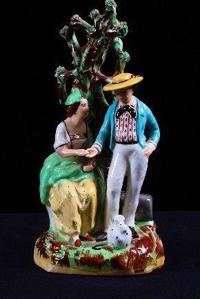 "18: Large Old Staffordshire 12"" Porcelain Couple c. 180"