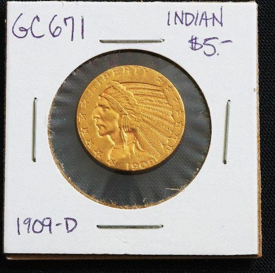 22: 1909-D Indian Head $5.00 Gold Coin GC671