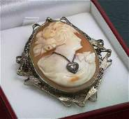 127 Antique Carved Shell Habille Cameo 14K Gold w Dia