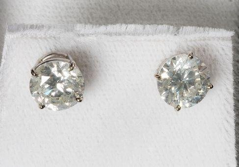 300: Pair of Diamond Solitaire Earrings 4.04ct. $75K Fu