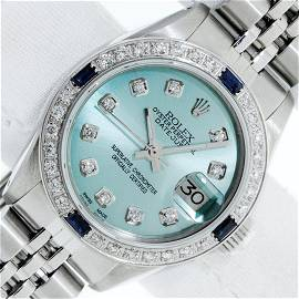 Rolex Ladies Stainless Steel Ice Blue Diamond 26MM