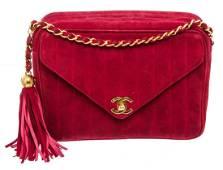 Chanel Red Suede Envelope Tassel Shoulder Bag