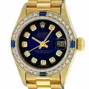 Rolex Ladies 18K Yellow Gold Sapphire And Blue Vignette