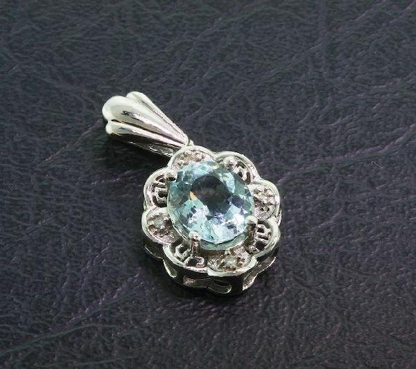 12: Aquamarine & Diamond Pendant 3.62 grams A303 FULL A
