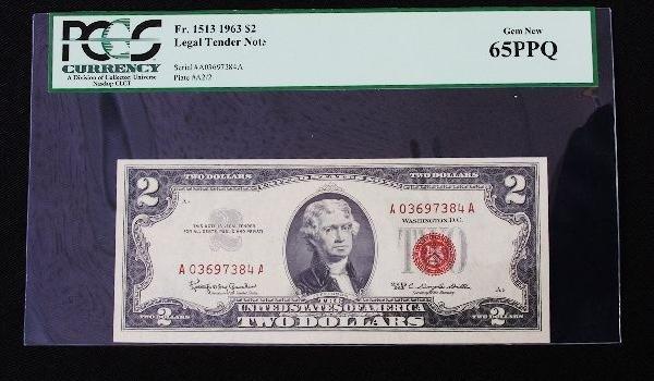 13: 1963 $2.00 Jefferson Legal Tender Note PM1571