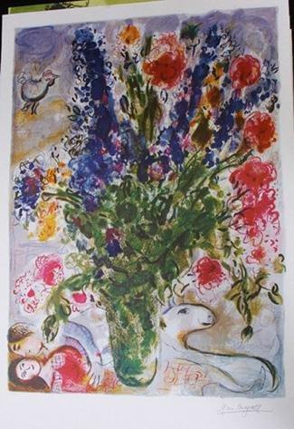 21: Marc Chagall - Les Lupines Bleu Print