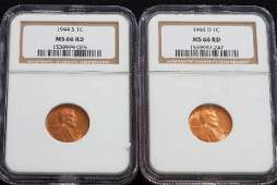 1067 1944S 1944D Lincoln Cents NGC MS66RD  JH223