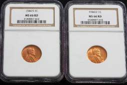 263 1944S 1944D Lincoln Cents NGC MS66RD  JH224