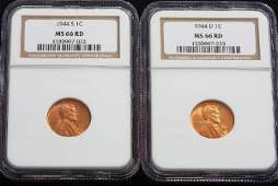 73 1944S 1944D Lincoln Cents NGC MS66RD  JH224