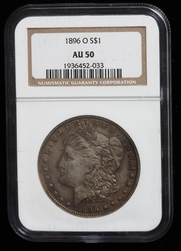 426A: Key Date 1896-O Morgan Silver Dollar AU50 SCE397