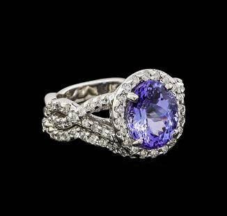 14KT White Gold 2.37 ctw Tanzanite and Diamond Ring and