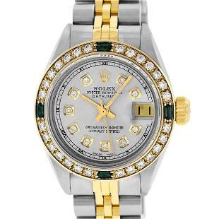 Rolex Ladies 2 Tone Grey Diamond & Emerald 26MM
