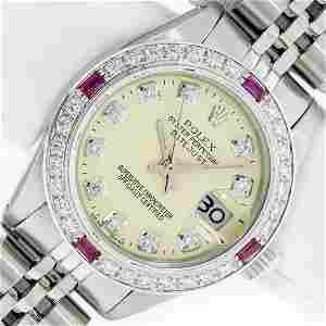 Rolex Ladies Stainless Steel Yellow Diamond & Ruby 26MM