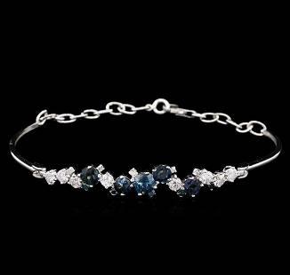 1.48 ctw Blue Sapphire and Diamond Bracelet - 14KT