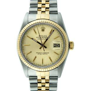 Rolex Mens 2 Tone Champagne Tapestry Index 36MM