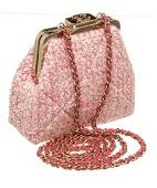 Chanel Pink Tweed Small Chain Kiss Shoulder Bag