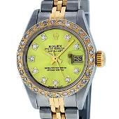 Rolex Ladies 2 Tone Yellow VS Diamond Oyster Perpetual