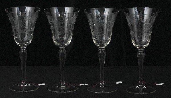 228: 4 Vintage Etched Wine Glasses ED230
