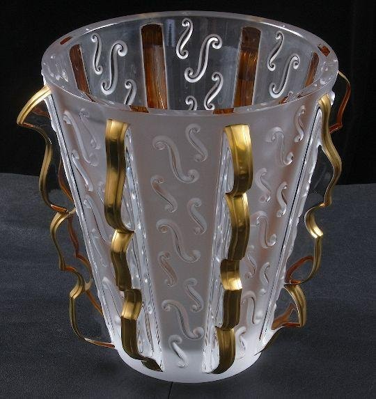 1: Lalique Gold Swing Musical Clef Crystal & Gold Vase