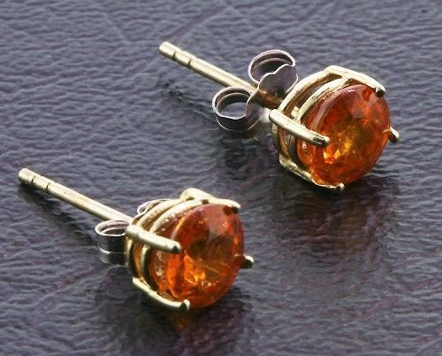 2: Sepessartite Garnet Solitaire Earrings 1.30 grams A1
