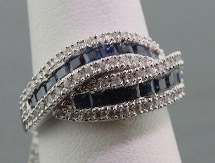3: 18K White Gold Diamond & Sapphire Ring 5.45 grams FJ