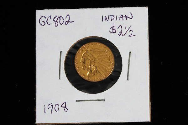 10: 1908 Indian Head $2 1/2 Gold Coin GC802