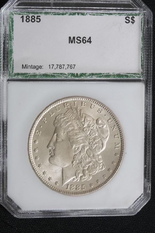 20: 1885 Morgan Silver Dollar PCI MS64 - JH212