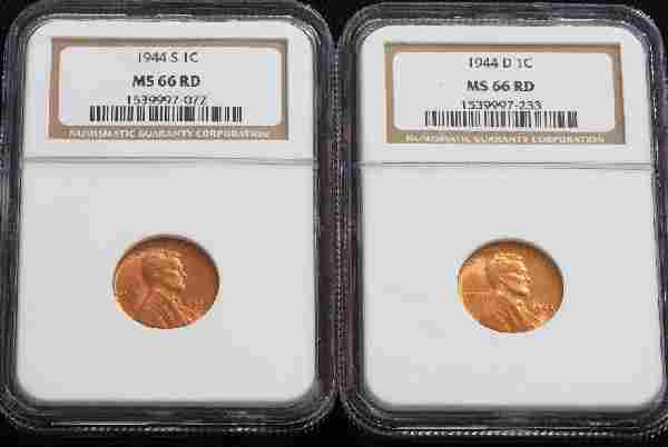 666: 1944-S, 1944-D Lincoln Cents NGC MS66RD - JH224
