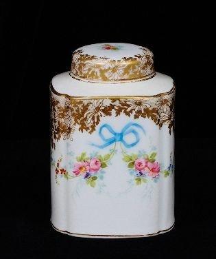 15A: Antique Limoges Tea Caddy w/lid france R. Delinier