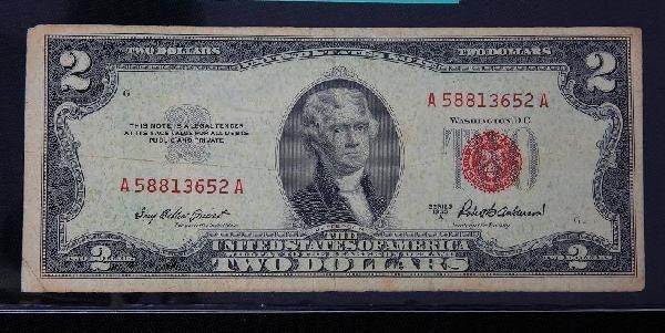 1953 $2.00 Jefferson Red Seal Bill PM551