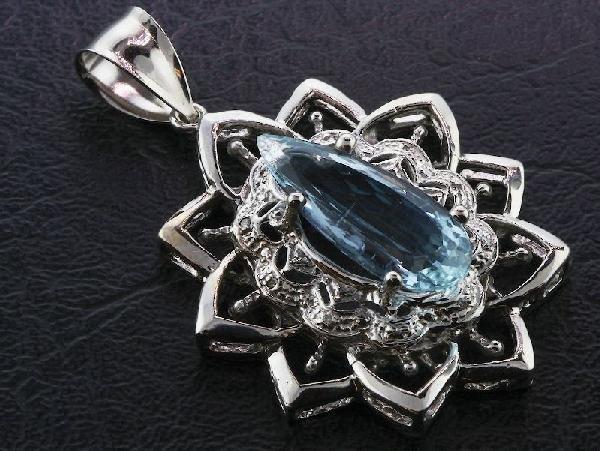 Aquamarine & Diamond Pendant 11.93 grams A308 FULL APPR