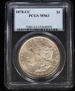 1878-CC Encased Morgan Silver Dollar PCGS MS63 SCE480