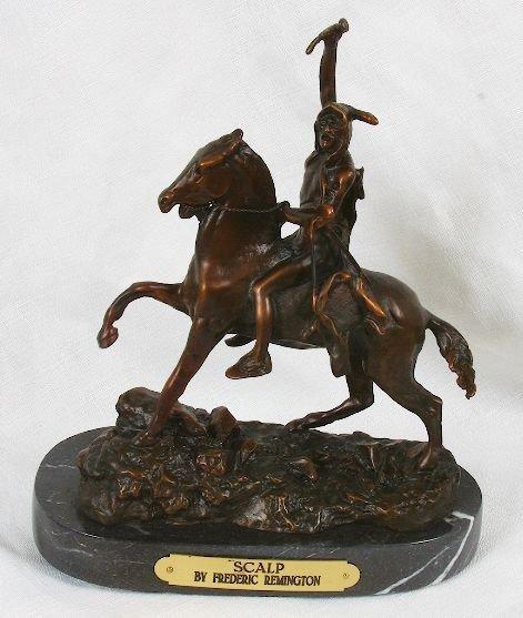 Frederic Remington Bronze Statue Reproduction - Scalp