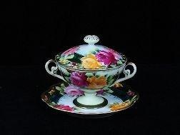 Antique Nippon 3Pc Boullion Soup, Lid, Underplate Roses