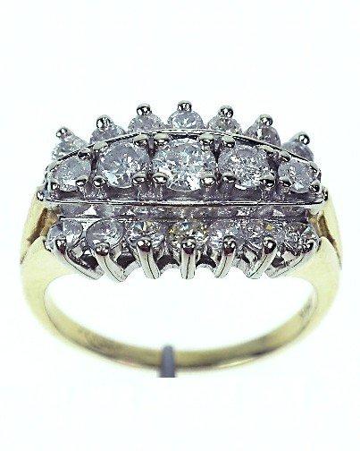 14KT Yellow Gold Ladies Three Row Diamond Ring A679