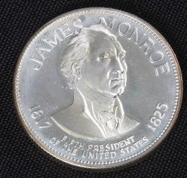James Monroe 33.1gm. Sterling Silver Presidents #33