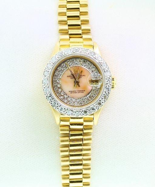 Ladies 18KTY Gold Rolex Diamond DateJust Wristwatch A60