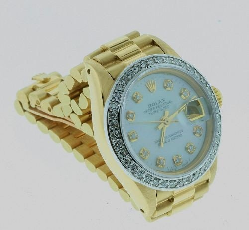 Ladies 18KTY Rolex Gold President DateJust Watch W30